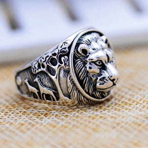 Huge Heavy Lion King 925 Sterling Solid Thai Silver Mens Ring Size 8 9 10 11 12