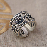 Solid 925 Sterling Thai Silver Ring Beautiful Flowers Adjustable Size 7 8 9 1011