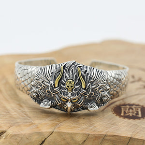 Huge Heavy Real Solid 925 Sterling Silver Cuff Bracelet Hawk Skull Jewelry