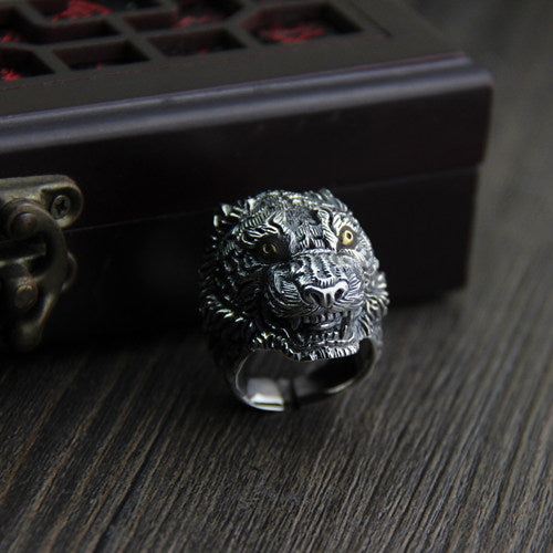 Men Heavy Solid 925 Sterling Thai Silver Ring Wolf Head Adjustable Size 9 10 11