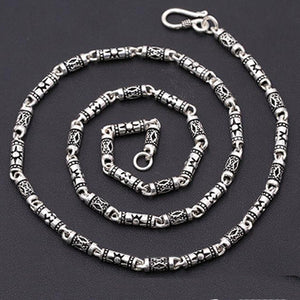 "Genuine Solid Sterling Silver Thai Silver Cylinder Chain Men's Necklace 18""-24"""
