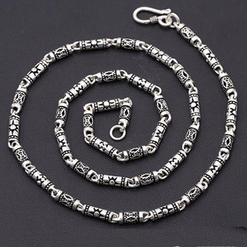Genuine Solid Sterling Silver Thai Silver Cylinder Chain Men's Necklace 18