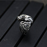 Solid 925 Sterling Silver Ring Bat Men's Women's Adjustable Size 6 7 8 9