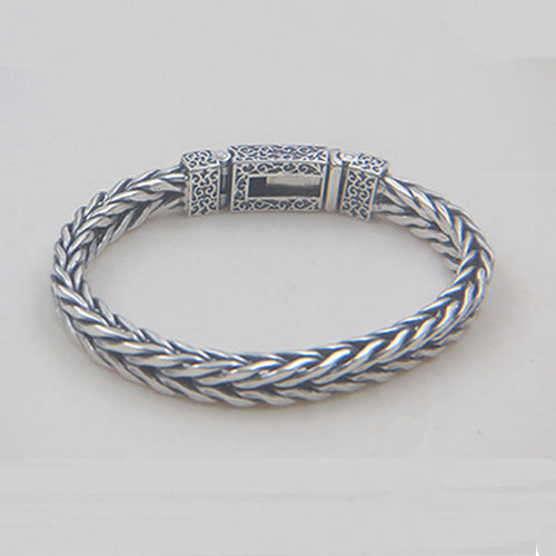 Men's 925 Sterling Silver Bracelet Link Chain Braided Jewelry 7.5