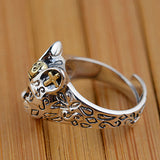 Men's 925 Solid Sterling Silver Ring Cat King Adjustable Size 7 8 9 10 Women