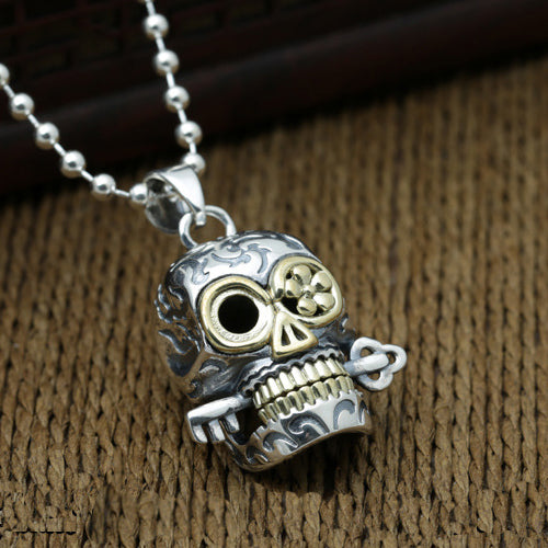 Solid 925 Sterling Thai Silver Pendant Skull Key Men's Women's