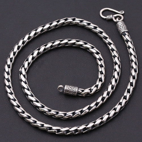 Heavy Solid Sterling Silver Thai Silver Keel Chain 5mm Men's Necklace 18