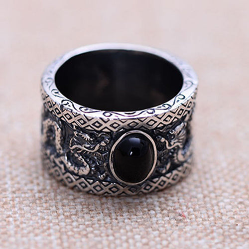 Men's 925 Sterling Silver Ring Black Agate Two Dragons Jewelry Size 8 to 11