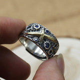 Real 925 Sterling Silver Ring Men's Cross Star Sky Adjustable Size 8 9 10 11