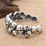Men's Real 925 Sterling Silver Cuff Bracelet Skulls Punk Jewelry