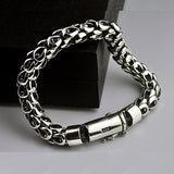 "Real 925 Sterling Silver Bracelet Link Chain Dragon Scale Thick Mens 7.5"" - 8.7"""