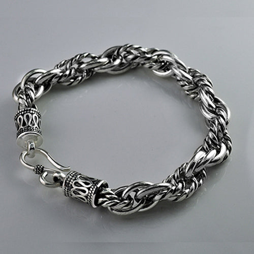 Real 925 Sterling Silver Bracelet Link Chain Braided Loop Thick Mens 7.1