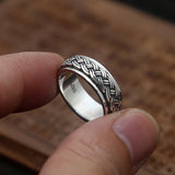 Men Women Solid 925 Sterling Thai Silver Ring Braided Rotation Size 8 9 10 11 12