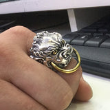 Men's Solid 925 Sterling Thai Silver Ring Beast King Adjustable Size 8 9 10 11