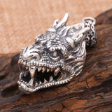 Solid 925 Sterling Thai Silver Pendant Dragon King Head Men's