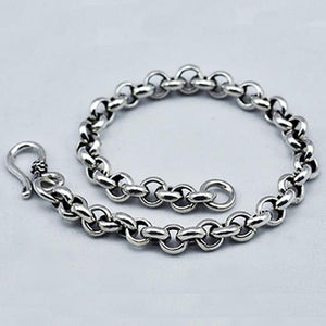 "Real 925 Sterling Silver Bracelet Link Chain Loop Classics Jewelry 6.7""-8.3"""