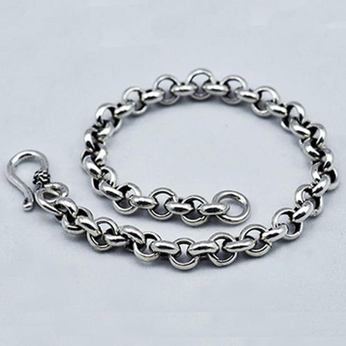 Real 925 Sterling Silver Bracelet Link Chain Loop Classics Jewelry 6.7