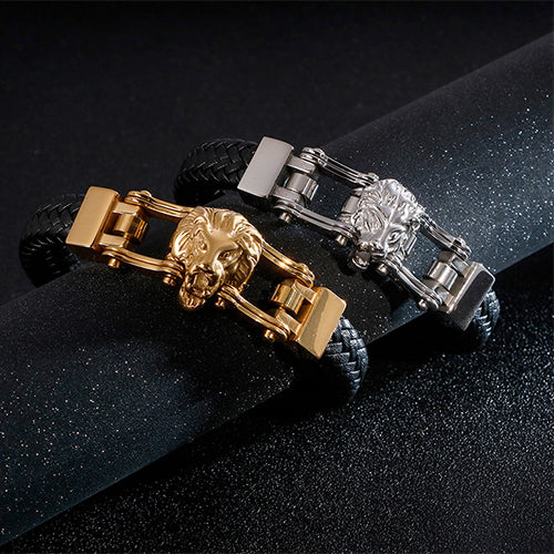 Men 316L Stainless Steel Bracelet Link Lion Wolf Leather Braided 8.3