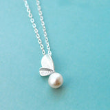 18'' Solid 925 Sterling Silver Necklace Natural Freshwater Pearl Pendant Leaf