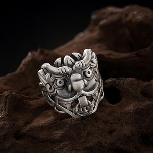 Real 990 Pure Silver Ring Mythical Beast Men's Women's Size 6 7 8 9 10 11