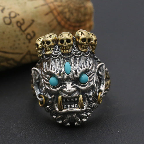 Men's Solid 925 Sterling Thai Silver Ring Skull Bodhisattv Open Size 10 11 12 13