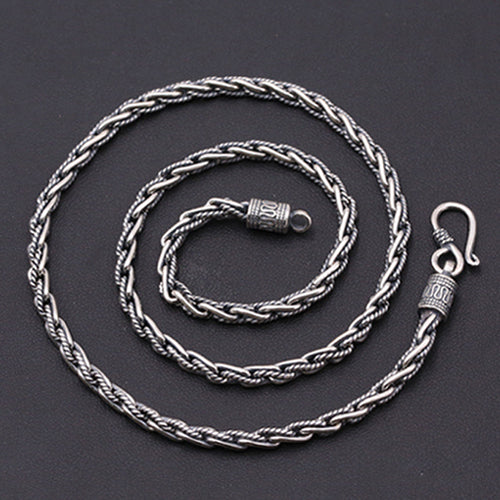 Genuine Solid Sterling Silver Thai Silver Braided Chain Men's Necklace 18