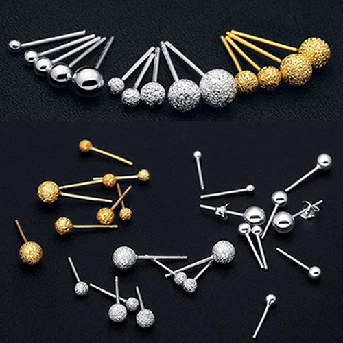 Women's 925 Sterling Silver Ear Studs Earrings Ball Matt Polish Gold Jewelry Gift