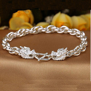Men's Pure Fine 990 Silver Bracelet Link Braided Loop Dragon Chain Jewelry