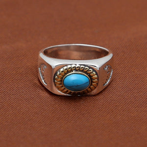 Solid 925 Sterling Thai Silver Ring Polish Turquoise Inlay Men Size 8 9 10