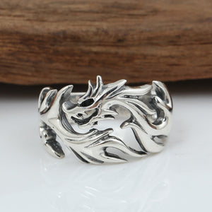 New Men's Solid 925 Sterling Silver Ring Fire Dragon Open Size 8 9 10 11