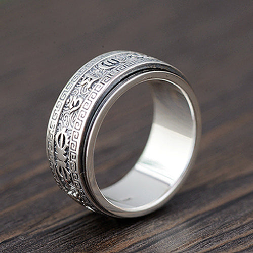 Real 925 Sterling Silver Ring Rotation Men's Scriptures Lection Size 6 to 12