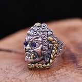 Men's Solid 925 Sterling Thai Silver Ring Demon Rakshasa Open Size 8 9 10 11 12