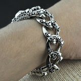 "Men's Solid 925 Sterling Silver Bracelet  Link Chain Skulls Jewelry 7.7"" - 8.9"""