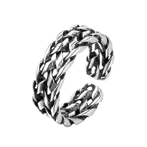 925 Sterling Silver Ring Braided Men's Adjustable Size 8 9 10 11
