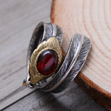 Real 925 Sterling Silver Ring Garnet Agate Feather Men's Open Size 6 to 11
