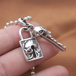 Solid 925 Sterling Thai Silver Pendant Skull Lock Key Zircon Inlay Men's Women's