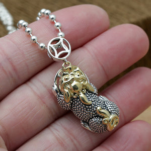 Solid 925 Sterling Thai Silver Pendant Money Lucky Animal Pi Xiu Men's Women's