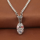 Solid 925 Sterling Thai Silver Pendant Skull Hand Zircon Inlay Men's Women's