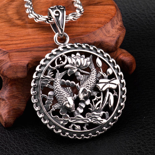 Genuine Solid 925 Sterling Silver Pendant Auspicious Two Fishes Men's Women's