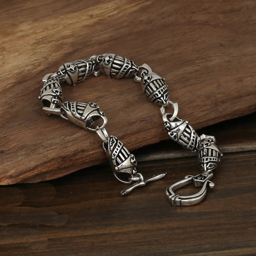 Men's Solid 925 Sterling Silver Bracelet Link Helmets Chain Jewelry 8.3