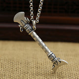 Solid 990 Sterling Thai Pure Silver Pendant Lunar Tooth Shovel Men's