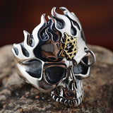 Real Solid 925 Sterling Silver Ring Mens Devils Gold Size 8 9 10 11 12