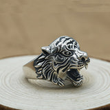 Real 925 Sterling Silver Ring Men's Tiger Adjustable Size 8 9 10 11