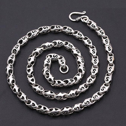 Real Solid 925 Sterling Thai Silver Hollow Heart Knot Chain Men Necklace18