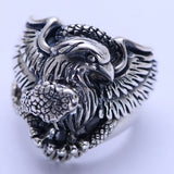 Huge Heavy 925 Sterling Solid Thai Silver Ring Men Eagle Snake Size 8 9 10 11