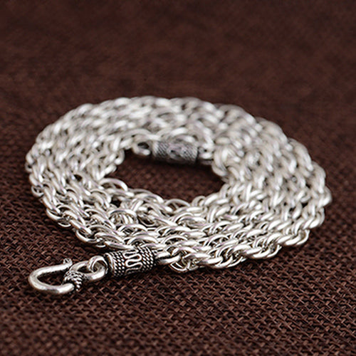Genuine Solid 925 Sterling Thai Silver Double O Loop Chain Men's Necklace18