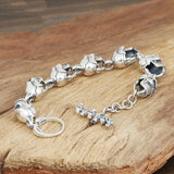 Men's Solid 925 Sterling Silver Bracelet Link Skulls Chain Jewelry 9.1""