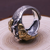 Real 925 Sterling Silver Ring Men's Fortune Beast Adjustable Size 8 9 10 11 12