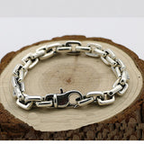 "Men's 925 Sterling Silver Bracelet Link Classical Chain Loop Jewelry 6.3""- 8.7"""