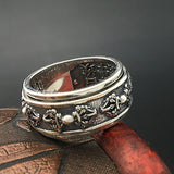 Solid 925 Sterling Thai Silver Ring Rotation Vajra Men's Size 7 8 9 10 11